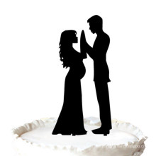 Our Stunning Silhouette Pregnant Bride & Groom Wedding Cake Topper