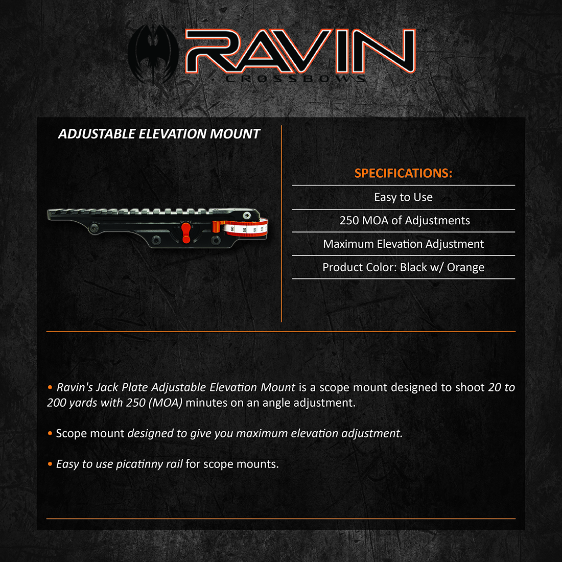 Ravin_Jackplate_Adjustable_Scope_Elevation_Mount_Product_Description