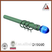 green tube painted drapery rod/25/28 mm crystal finial curtain rod/curtain rod of telescopic curtain pole