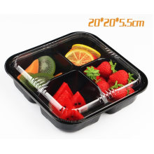 Pet Clear Plastic Compartment Take Away Salad Food Container Tray 16