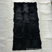 100% real animal fur dyed black rabbit skin plate