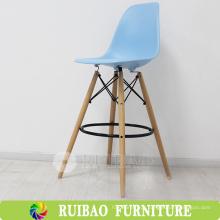 Italian Strong Confortable Plastic Wooden Bar Stool Fornecedor, cadeira alta para bar, restaurante, KTV cadeira de plástico para pernas de madeira