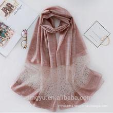 Lightweight fashion women scarf 25% silk 75% acrylic scarf with diamond