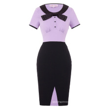 Belle Poque Retro Vintage Short Sleeve Bow-Knot Decorated Hips-Wrapped Bodycon Pencil Dress BP000129-2
