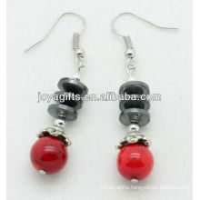 Wholesale red coral with hematite flat beads earring