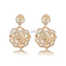 Урожай дизайн галстук золотой сплав цинка роза цветок серьги