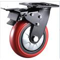 Черный кронштейн 8-дюймовый красный PU-колесо Промышленные высокопроизводительные поворотные ролики