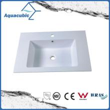 Bacia de lavagem branca retangular de mármore artificial Acb7504A