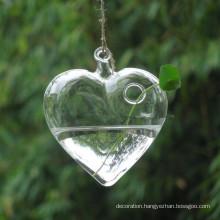 New Clear Heart Shape Glass Hanging Vase Bottle Terrarium Container Plant Flower Table Weddisgsng Garden Decor
