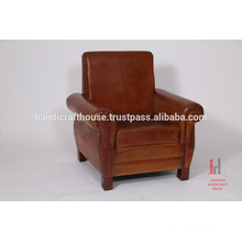 Leather single seater brown living room sofa