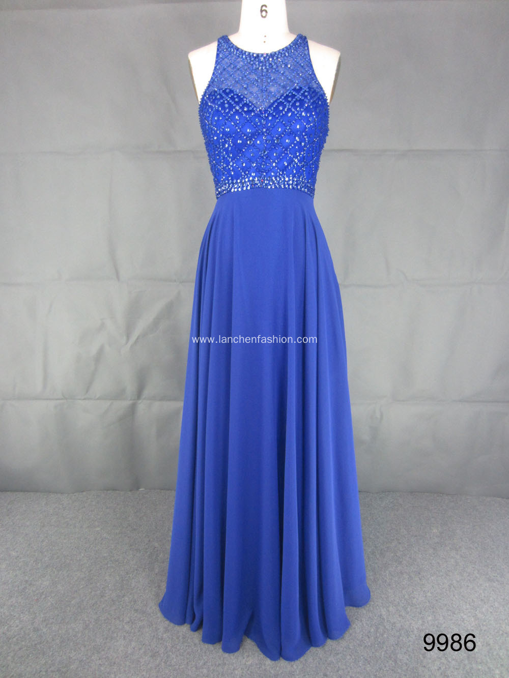 Long Halter Neck Beaded Evening Gown