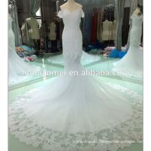 korea style off shoulder appliqued full length wedding dress 2018 bridal gowns
