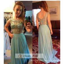 Gorgeous Beading Evening Gown Sheer Cap Sleeve Zipper Chiffon Floor length Custom Made