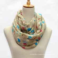 Cheap prices dog printed scarf ladies textured polyester scarf wholesale for lady