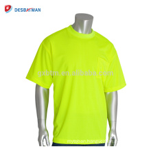 Hi Vis Cool Lime Orange O-neck Mens Tee 100% Wicking Polyester Mesh Non-ANSI Short Sleeve T-Shirt With Chest Pocket For Summer