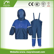 Waterproof Shiny PU Kids Fire Men Rainsuit