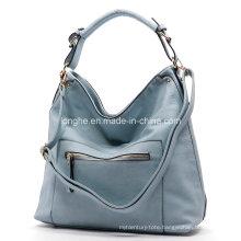 Front Zipper Pocket PU Leatehr Ladies Tote Bag (ZXS0059)