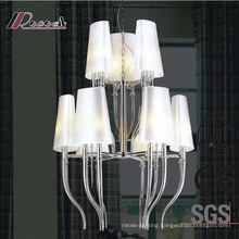 European Hotel Decorative Chrome Pendant Lamp with Fabric Shade