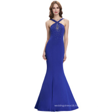 Kate Kasin Backless Sleeveless Halter High Stretch Blue Long Ball Gown Evening Prom Party Dress 8 Size US 2~16 KK000111-1