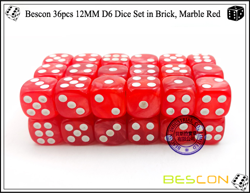Bescon 36pcs 12MM D6 Dice Set in Brick, Marble Red-3