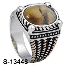 Nuevos y diseños personalizados Anillo de 925 hombres de plata esterlina con piedra natural (S-13448)