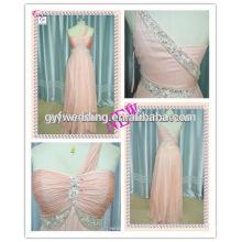 Alibaba China 2016 Atacado Europeu Beading Cintura Free Prom Long Mulheres Chiffon One Shoulder Evening Dress ED3540