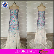 ED Bridal Sexy Real Picture Sweetheart Zipper Side Slit Heavy Beaded Chiffon Long Evening Dress