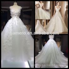 1A033 Dreamy Bud seda Appliqued sin mangas de espalda de encaje vestido de novia vestido de novia