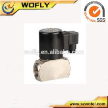 Alta freqüência Corpo de aço inoxidável Viton Seal 12vcc válvula solenóide de alta temperatura 1/4