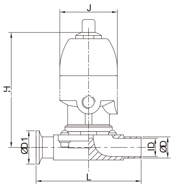 Sanitary diaphragm valve SS pneumatic weld and clamp