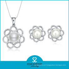 2015 Lucky Pearl Silver Jewellery Set Vendas on-line (J-0011)