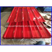 Feuille de toiture en acier ondulé galvanisé recouvert de couleur