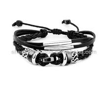 Bracelete de cabo de couro puro tecido à mão Bracelete de couro personalizado
