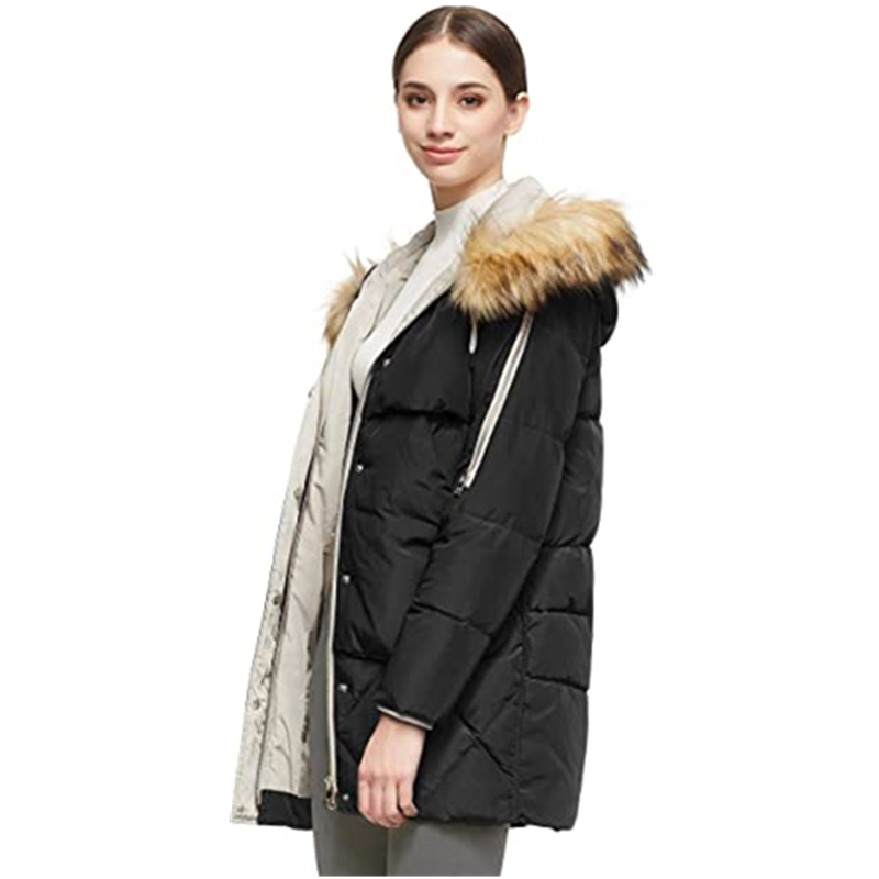 Women S Thickened Mid Length Down Jacket With Removable Fur Hood Large Pockets2