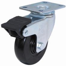Roulette pivotante en caoutchouc avec double frein (noir)