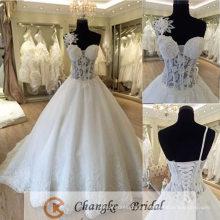 Vestido de novia sexy ver a través de la flor de encaje Boning vestido de novia vestido de baile 2016