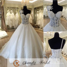 Sexy Wedding Dress See Through Lace Flower Boning Ball Gown Bridal Gown 2016