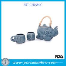 Elephant Design Ceramic Tea Set