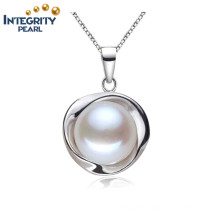 10-10.5mm Bread Round 3 Colors Fashion 925 Silver White Freshwater Pearl Pendant