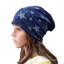 Moda estrela impressa de malha de algodão inverno quente chapéu de esqui (yky3125)