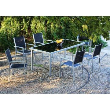 Al aire libre muebles 7pc imitado madera set de comedor