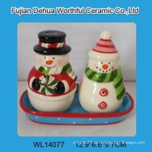 Cute cerámica Snowman sal y pimienta Shakers