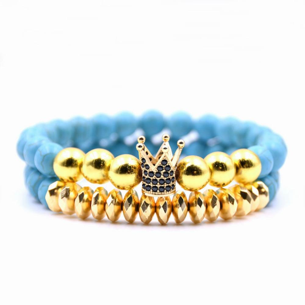 8 MM Howlite Beads Gold Crown Alloy pulsera para mujer