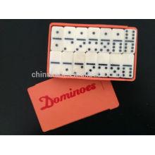 Small Dominoe set in Imitation wood plastic case