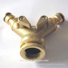 2 ways brass hose connector with valve