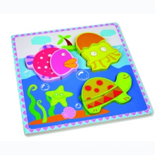 Wooden Puzzle Toy for Baby with Sea Animals (80631-1)