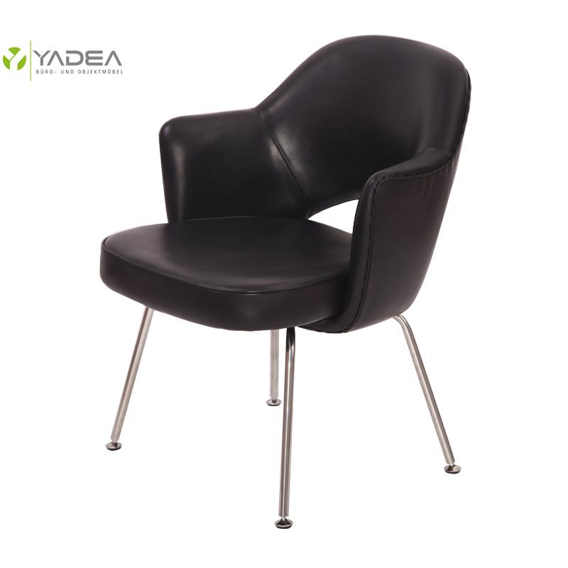 Black Leather Saarinen Executive Armchair