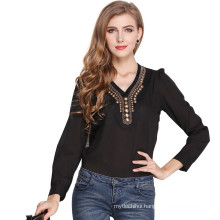 Fashion and retro copper decoration top blouse v-neck long sleeve t shirt women blouse