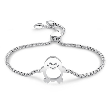 Rantaian laras Rose Gold Penguin Gelang Charm