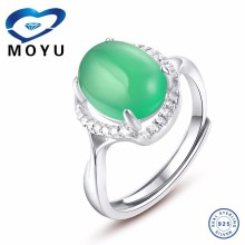 Hot sale retro style emerald natural stone women finger ring